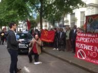 Julian Jones speaking from the YCL Executive Committee