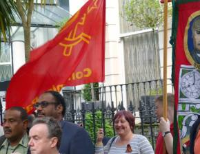 Local Communist Party Branches were out in force to support the protest