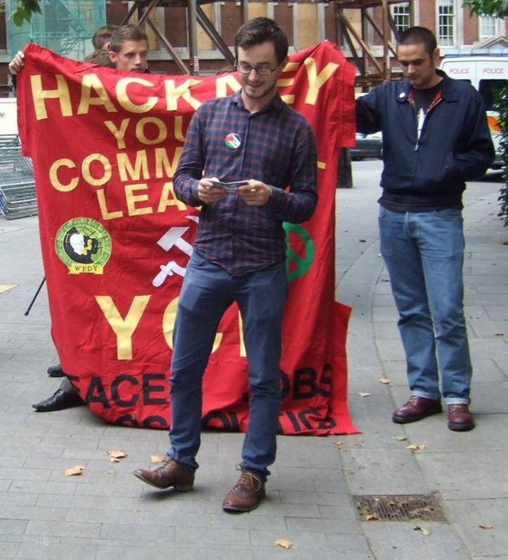 Julian Jones, YCL Executive Committee member speaking at the picket of the US embassy in London