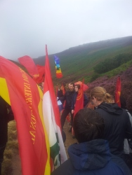 Stopping off to hear a bit about the history of the Kinder Scout Mass Trespass of 1932