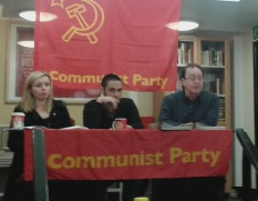 YCL General Secretary Zoe Hennessy, YCL Chair James Rodie and CP General Secretary Robert Griffths.