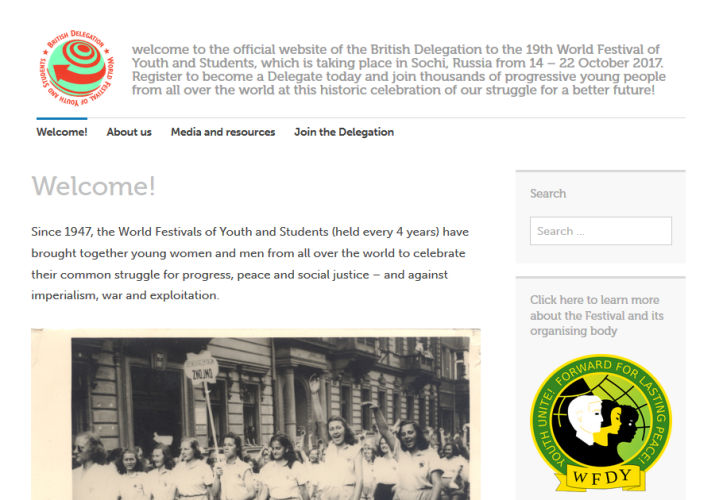 WFYS British Delegation website home
